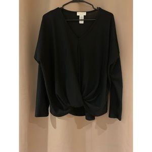 Black long sleeve sweater with knot front